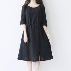 Black Oneck cotton linen dress loose leisure dress by ideacloth, $58.00