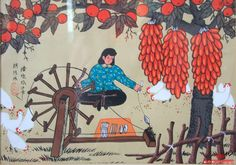 Spinning—Chinese peasant painting