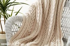 Bernat Braided Cables Knit Throw  Free Intermediate Throw Knit Pattern
