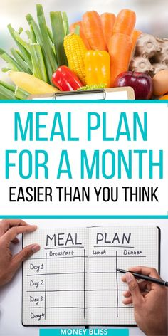 Meal planning is key to save money on groceries. You can strech your grocery budget further by learning how to meal plan for a month + printables. Healthy Menu Plan, Healthy Meals For One, Healthy Recipes On A Budget, Healthy Meal Prep, Healthy Eating, Healthy Food, Clean Eating, Monthly Meal Planning, Budget Meal Planning