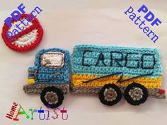 Cargo Truck crochet applique pattern  This is an -INSTANT DOWNLOAD- pattern of a…