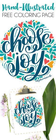 Choose Joy Folk Art Style Free Coloring Page. This new hand drawn coloring page celebrates choosing joy. Grab it on DawnNicoleDesigns.com