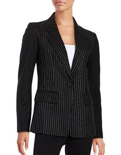 Dkny Pinstriped Wool-Blend Blazer Women's Black 0