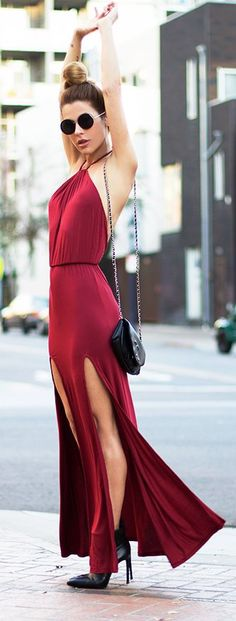 street style summer / red maxi dress