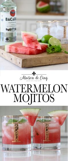 Watermelon Mojito Recipe - The Perfect Summer Cocktail! This watermelon mojito recipe is so delicious! Combining sweet watermelon, fresh mint, and lots of lime makes it the perfect cocktail for summer! Watermelon Mojito, Sweet Watermelon, Watermelon Recipes, Mojito Cocktail, Sangria, Pina Colada, Summer Drinks, Fun Drinks, Alcoholic Drinks
