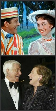 Then and now! Dame Julie Andrews and Dick Van Dyke in the movie Mary Poppins and a recent pic taken in 2013.