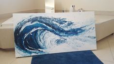 Items similar to Breaking Wave - Acrylic Abstract Painting - 24 x 48 - Ocean Theme by Catb on Etsy Ocean Themes, Waves, Abstract, Awesome, Unique Jewelry, Handmade Gifts, Artwork, Prints, Painting