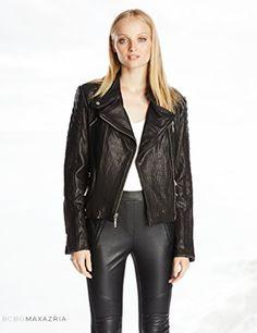 BCBGMAXAZRIA Women's Maddy Leather Moto Jacket