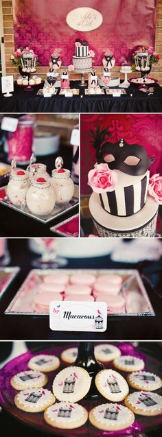love the mask on the cake - french inspired
