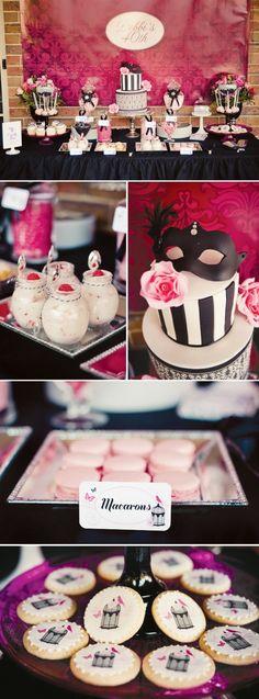 """chá """"máscaras"""" preto e pink"""
