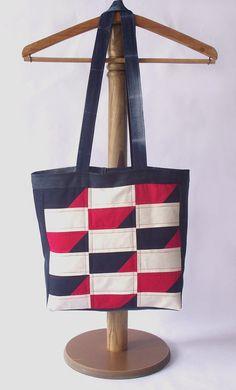SALE Plaid Tote Bag Red Bag Patchwork Bag Denim by duduhandmade