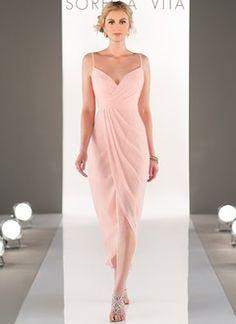 962ce77aa3b Sheath Column V-neck Asymmetrical Chiffon Bridesmaid Dress With Ruffle  (0075130039). Robes De ...