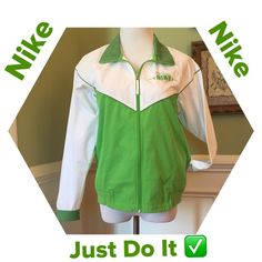 Nike Jacket Excellent Condition!!!  Zip front light weigh jacket with collar and front pockets. The collar, piping and sleeve cuffs are a darker green. Rib band on bottom of jacket. Super deal!!! Nike Jackets & Coats