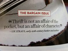 Thrift... affair of character