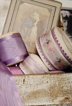 """VINTAGE 5//8/"""" FRENCH RIBBON wire OMBRE 1yd Lavender White"""