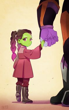 cyancrown:  young gamora  young gamora with big daddy thanos..