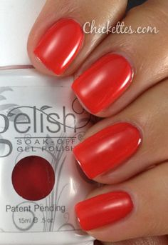 Gelish Tiger Blossom Color Swatch from chickettes.com. Gelish polish is available at www.esthersnc.com