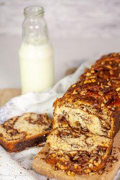Cozonac cu crema de ciocolata si nuci Nutella, Banana Bread, Deserts, Ice Cream, Sweets, Homemade, Cakes, Food, Gourmet