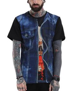 8a1126260944 Fake jeans 3d skull t shirt for guys short sleeve Shirts For Teens