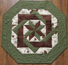 Quilted Table Topper Brown Green Cream Pine Cones by HollysHutch,