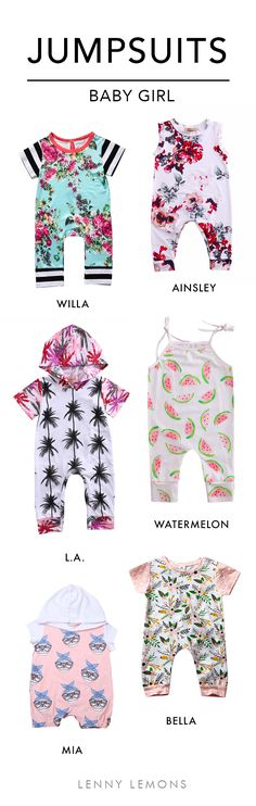 FREE USA SHIPPING! Soft and comfortable cotton jumpsuits for your baby girl. Choose between these colorful prints to dress your baby this summer. Lenny Lemons. Baby and toddler apparel.