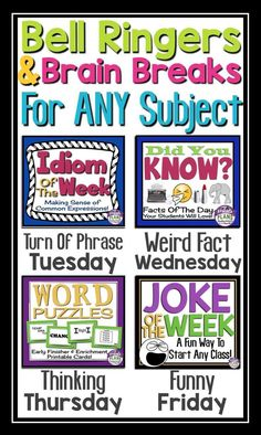 """Begin 4 classes a week with these """"Just For Fun"""" bell-ringers to catch your students' attention as soon as they enter the room. They can also be used as a brain break or as discussion starters!"""