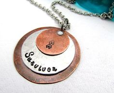 Cancer Awareness Necklace - Cancer Survivor - Hand Stamped Jewelry - Mixed Metal Necklace Ribbon