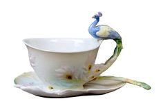 Peacock Cup Saucer Spoon Set