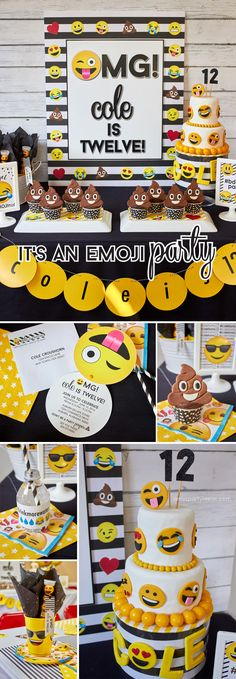 Emoji Party Ideas & Printables as seen on AmysPartyIdeas.com Backyard Birthday Parties, 10th Birthday Parties, Birthday Party Themes, Birthday Ideas, Party Emoji, Emoji Party Decor, Preteen Birthday, Emoji Decorations, Emoji Cake