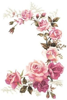 New XL Pink Tea Rose Corner Swags Shabby Waterslide Decals Furniture Size