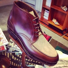 http://chicerman.com  carminashoemaker:  Nice#Mto#casual#boots#carmina #brown#cream  #menshoes