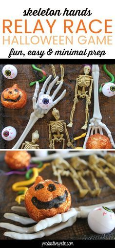Want an easy, minimal prep Halloween party game? Try the Skeleton Hands Relay Race Halloween Game! It's perfect for classroom parties, Halloween Night, or simple fun at home. It's made from Dollar Store Supplies so it's easy on the budget too. Fall Party Games, Halloween Party Activities, Classroom Halloween Party, Outdoor Party Games, Halloween Activities For Kids, Halloween Birthday, Halloween Parties, Class Halloween Party Ideas, Halloween Kid Games