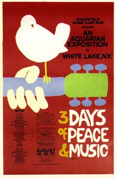 The 1969 Woodstock Festival at which 400,000 young people gathered in a spirit of love and sharing, represents the pinnacle of the hippie movement.  The musical phenomena of the decade was Woodstock, a three day music festival that drew 400,000 people and featured peace, love, and happiness...and LSD.