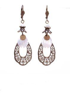 Blanc - bronze - LNK Création - Création de bijoux fantaisies artisanaux