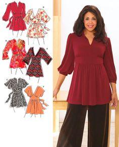PLUS SIZE TOP Sewing Pattern - Women's Khaliah Ali Tops - 4 Sizes