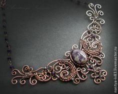 Колье с аетистами - фиолетовый,колье,медь,аметист,украшения,wire wrap