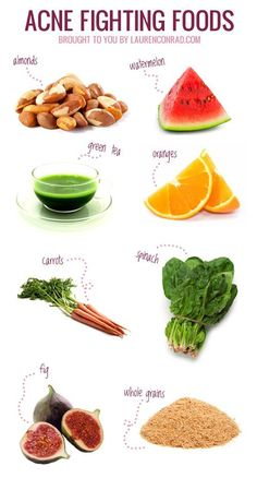 Acne fighting foods (pic) & Best Foods to Eat for Healthy Skin (Link)