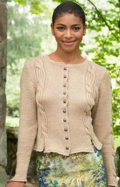 Oktoberfest Cardigan Free Knitting Pattern from Red Heart Yarns