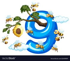 Nine bee with number nine vector image on VectorStock Numbers Preschool, Preschool Math, Preschool Worksheets, Kindergarten, Number Words Worksheets, Display Boards For School, Flashcards For Kids, Pre School, Classroom Decor