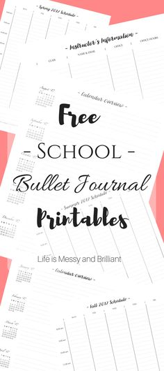 School bullet journal printable