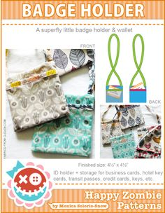 A superfly little ID / badge holder PDF pattern!