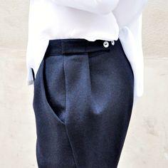 """Le Vestiaire de Jeanne - Pantalon """"homme"""", drap noir"""