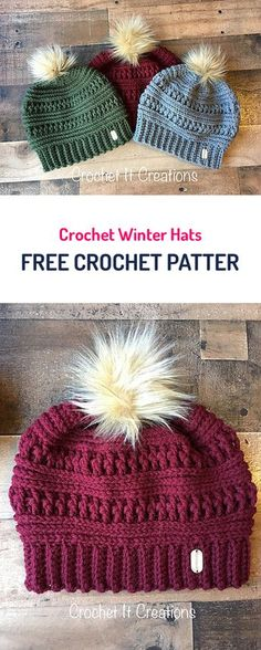Crochet Winter Hats Free Crochet Pattern #crochet #yarn #fashion #style #diy #crafts