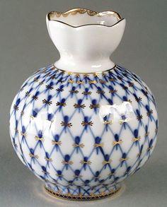 Lomonosov Porcelain Flower Vase Cobalt Net | eBay