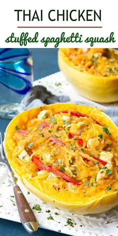 Thai curry, chicken and spaghetti squash come together in a healthy dinner recipe that's incredibly filling and satisfying! 409 calories and 4 Weight Watchers Freestyle SP