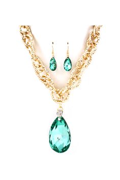 Dakota Necklace & Earrings in Teal Crystal.