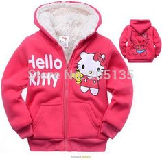 Nice 2016 Baby girls Hello Kitty coat Hooded fur Sweater Winter Warm Jacket Children outerwear kids clothes retail - $43.8 - Buy it Now!