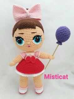 Lol Surprise Coconut QT Amigurumi - Her Crochet Tutorial Amigurumi, Doll Amigurumi Free Pattern, Pokemon Crochet Pattern, Pikachu Crochet, Crochet Bunny Pattern, Crochet Dolls Free Patterns, Amigurumi Doll, Crochet Toys, Crochet Fairy