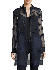 Nicolette+Sheer+Silk+Trench+Coat+by+Elie+Tahari+at+Bergdorf+Goodman.