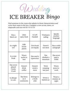 Bridal Shower Ice Breaker Game Pastel Rainbow Wedding Human Bingo Cards Printable Get to Know You Bingo Card Template, Bingo Cards, Printable Cards, Wedding Printable, Free Printables, Blush Bridal Showers, Bridal Shower Games, Ice Breaker Bingo, Human Bingo